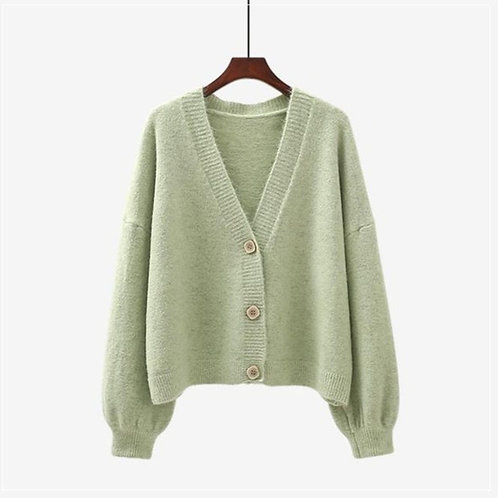 V- Neck Cardigan in One Size - Green