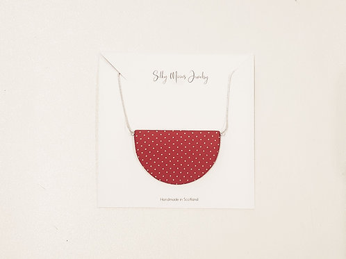 Silky Moons Half Moon Necklace Red/White Polka Dots