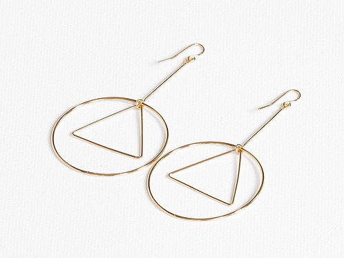 Adeline Skinny Circle and Triangle Long Earrings - Gold