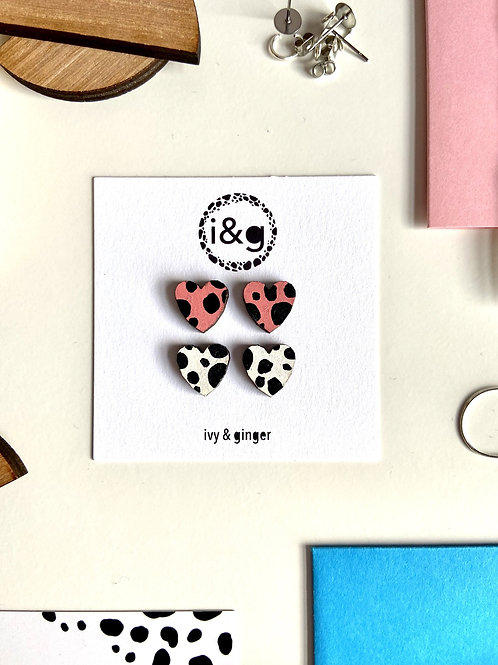 Pink & White Dalmation Heart Stud Set