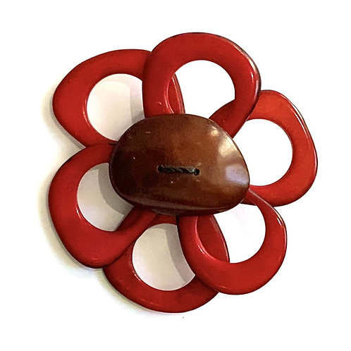 Flower Brooch - Red