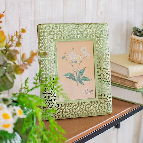Green Metal Floral Frame