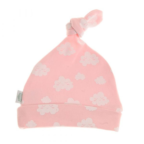 Pink Winking Clouds Cotton Baby Hat