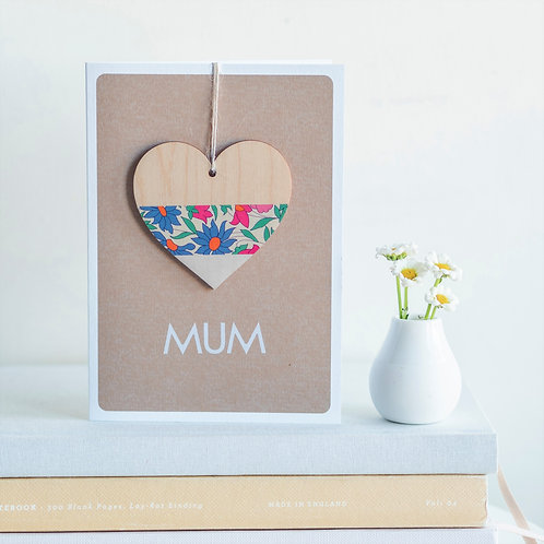 Wooden Heart Keepsake for Mum