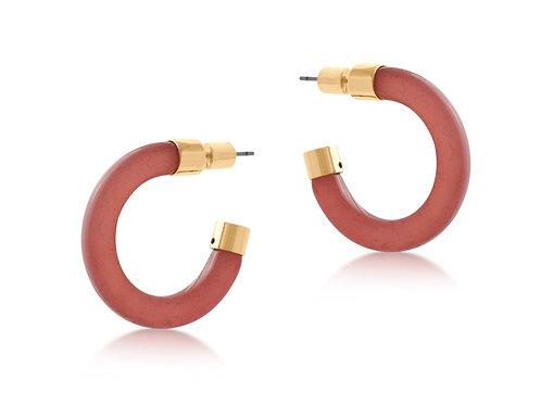 Isabella Resin and Metal Hoop Earrings - Pink