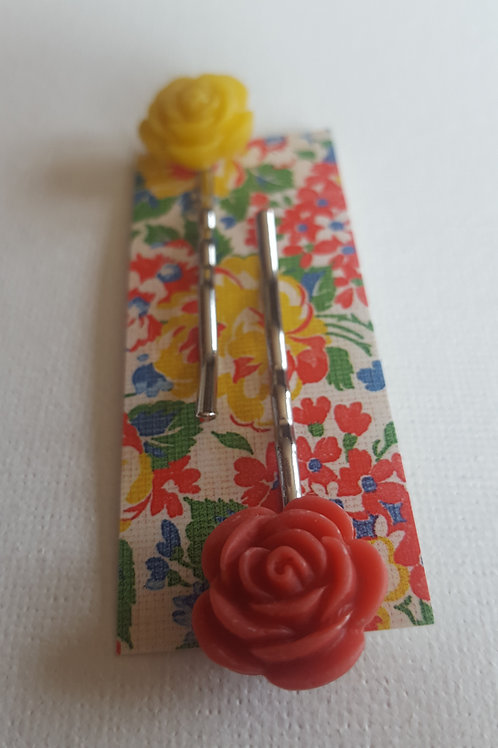 Acorn & Will Esme Hair Slides Small  - Yellow/Fiery Red