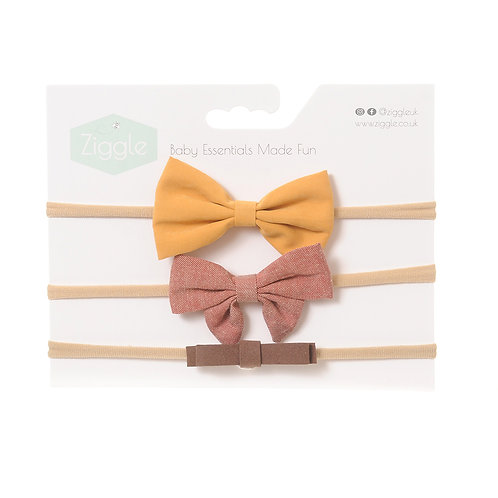 Mustard and Brown Hairbow Set
