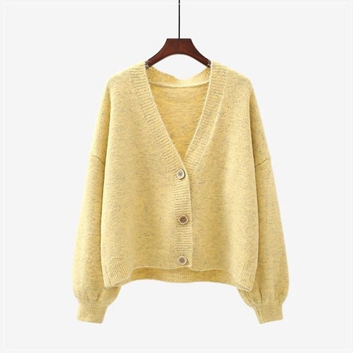 V-Neck Cardigan in One Size - Pale Yellow