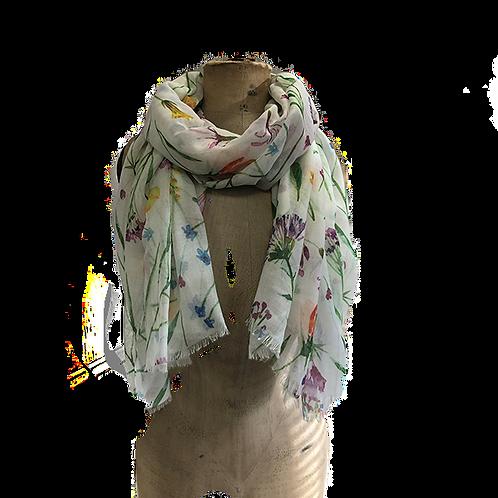 Cottage garden flower sprays scarf