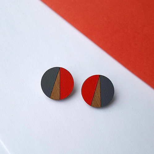 Statement Geometric Circle Earrings - Red/Navy