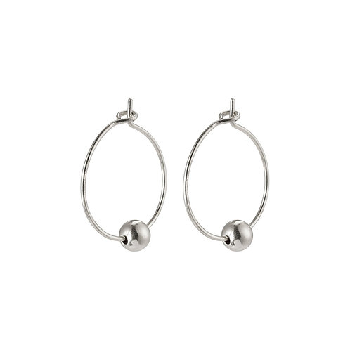 Meg Silver-Plated Hoops with Single Ball