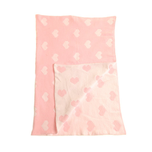 Pink & White Hearts Chenille Blanket