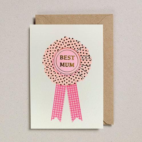Pink Best Mum Rosette Card