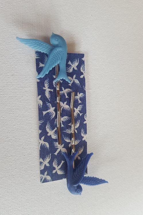 Acorn & Will Mrs Pea Bird Hair Slides - Bright Blue/Dark Blue