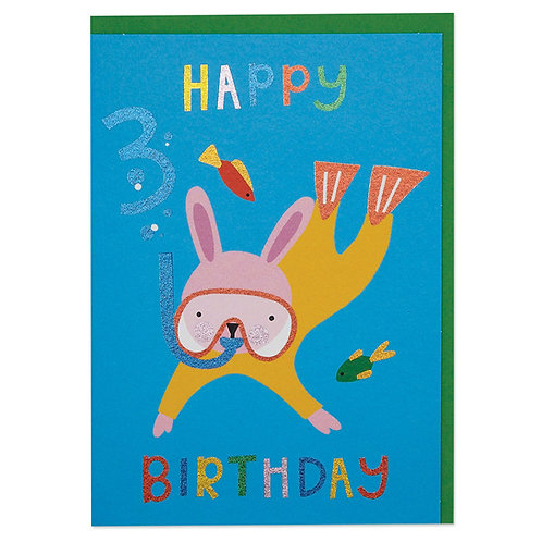 Scuba Diving Rabbit Age 3 Children's Birthday Card