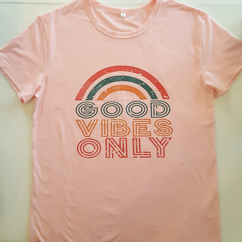 Good Vibes Only T-shirt - Pink