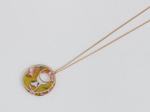 Elloise Resin Pendant Necklace - Green/Pink