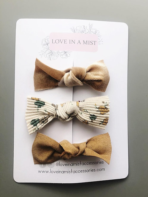 Autumnal Hair Bows - Set of 3
