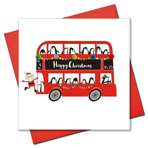 Happy Christmas Penguins on Bus