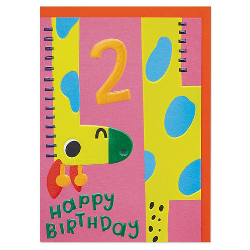 Bright and Colourful Playful Giraffe Age 2 Children's Birthday Card