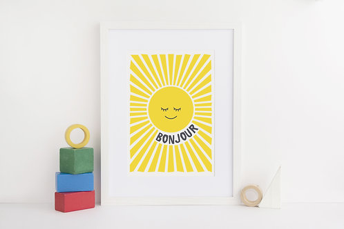 'Bonjour' print by Kate & the Ink