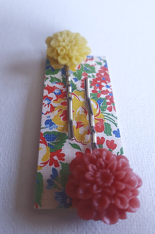 Acorn & Will Tolly Hairslides - Rose Pink/Yellow