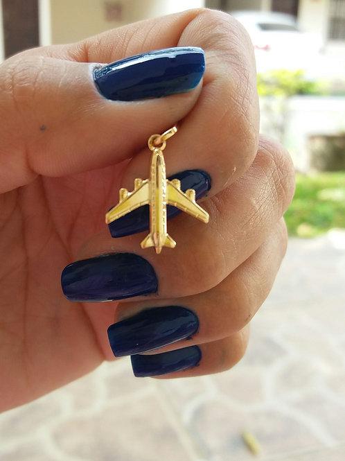 Pingente avião pequeno folheado ouro