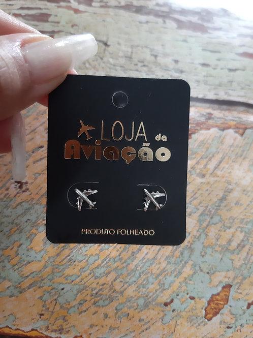 Brinco mini avião comercial - Prata pura