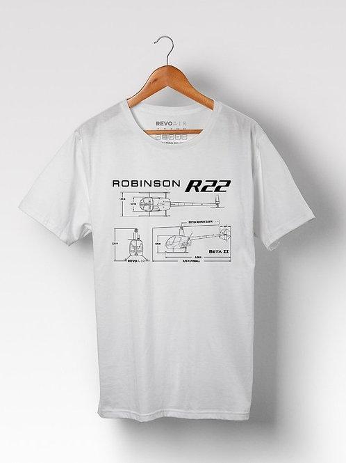 Camiseta masculina Helicóptero R22 Robinson 22