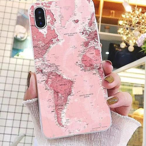 Capa celular I phone X mapa rosa