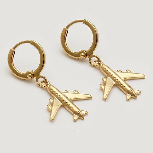 Brinco argola avião grande - folheado a ouro