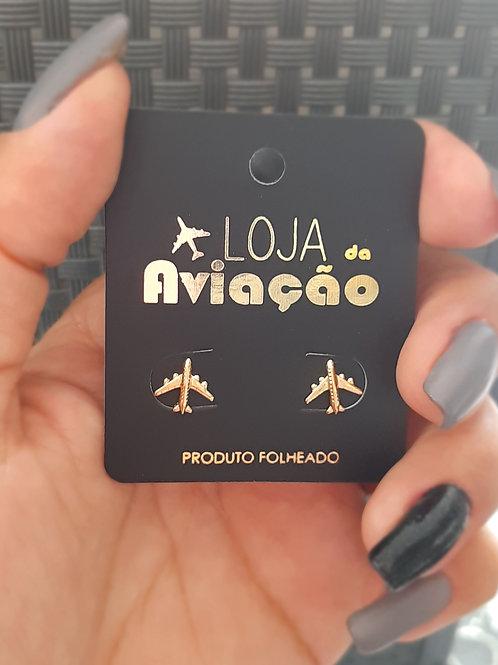Brinco mini avião comercial - Folheado ouro