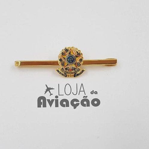 Prendedor de gravata - Brasão Brasil - folheado a ouro