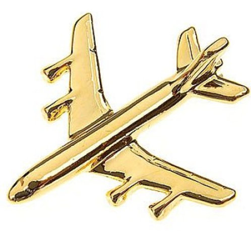 Pin Boeing 707 avião folheado ouro