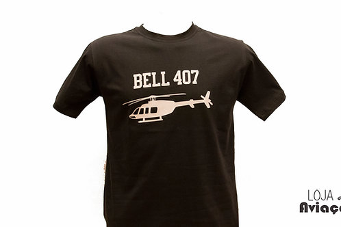 Camiseta Helicóptero Bell 407 Aviação