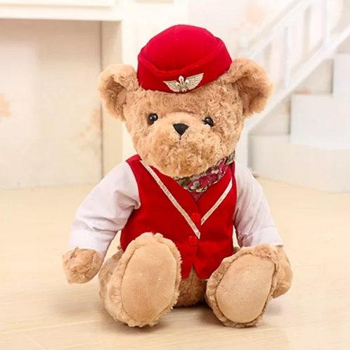 Urso de pelúcia Comissário  de voo