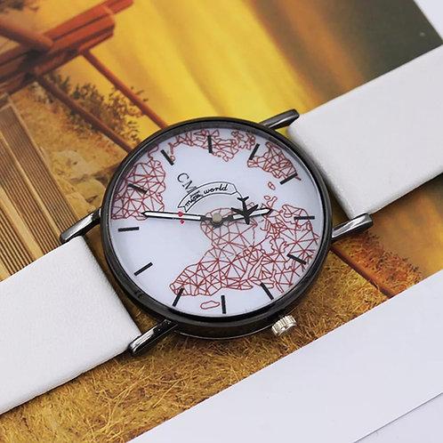Relógio de pulso avião mapa criativo pulseira branca