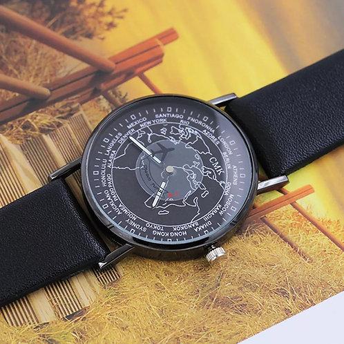 Relógio de pulso preto - Avião viagens