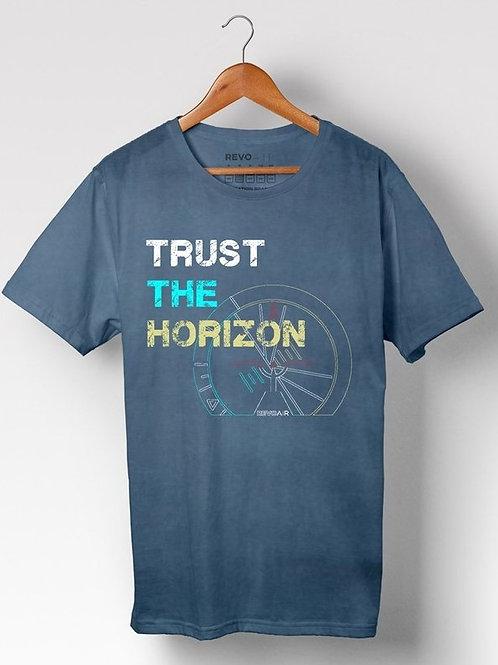 Camiseta masculina Trust the horizon azul