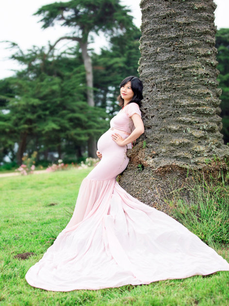 Light Pink Monroe Gown With Drape Sleeves