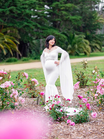 White Long Sleeve Maternity Gown