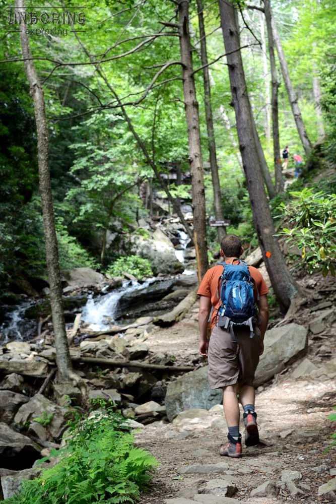 Walking up Glen Onoko Falls