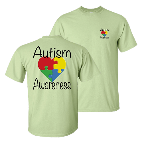 Autism Awareness short sleeve shirt - pistachio