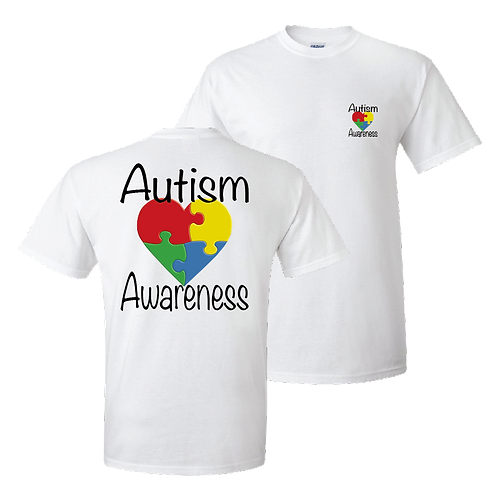 Autism Awareness short sleeve shirt - white