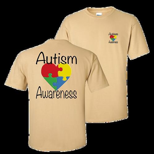 Autism Awareness short sleeve shirt - vegas gold