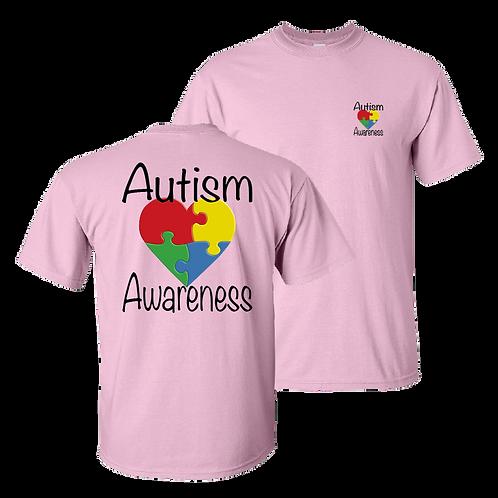 Autism Awareness short sleeve shirt - light pink