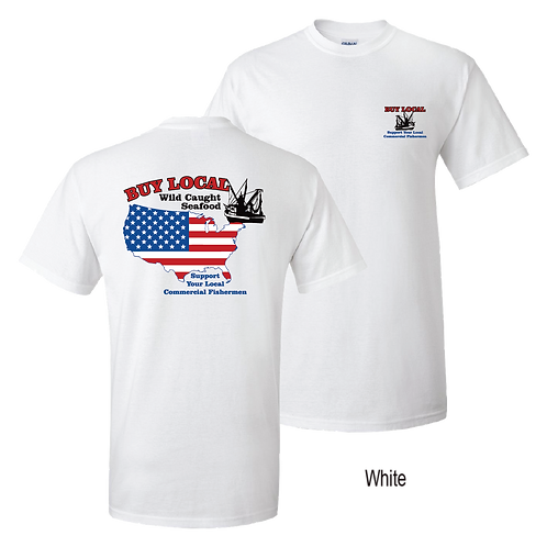 Buy Local Seafood - short sleeve tee, white