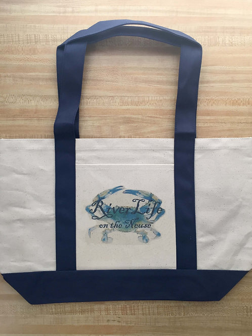 River Life with Blue Crab Tote Bag - LARGE