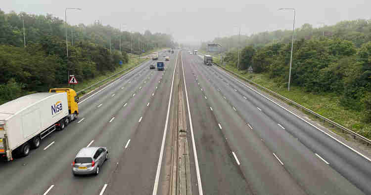 The M25, surprisingly quiet at 7am on a Saturday morning