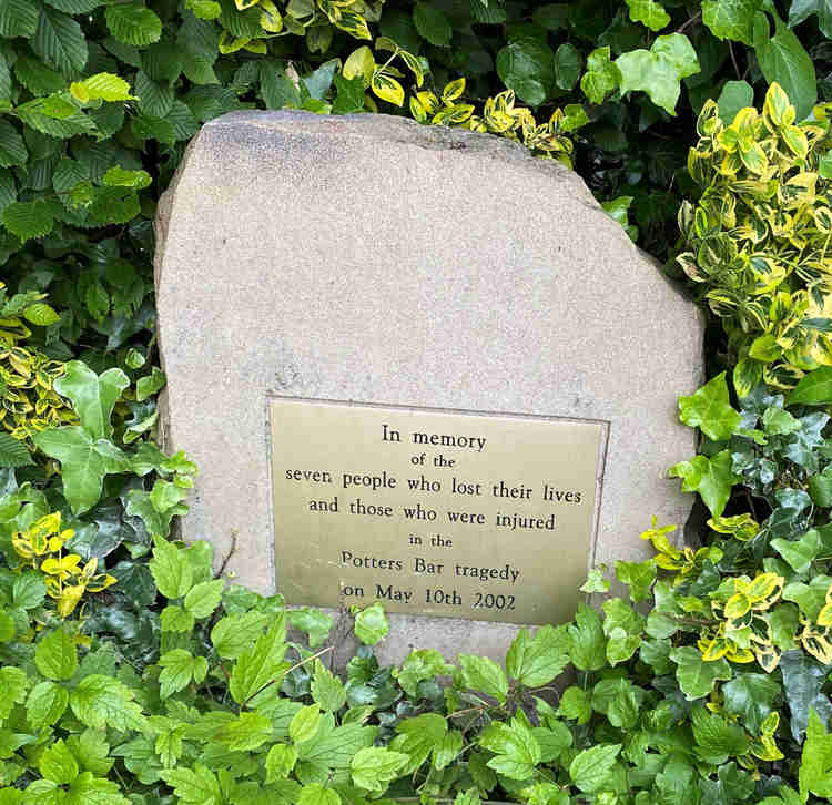 A memorial to the seven people who died in the Potters Bar rail tragedy May 10th 2002